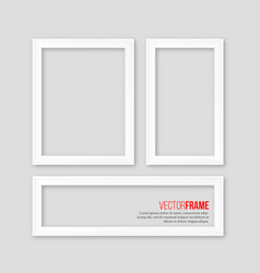 3d white realistic frames with shadow on grey vector image