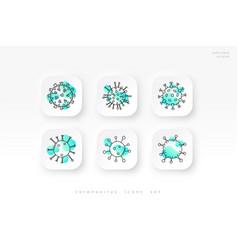 a set coronavirus icons cell covid-19 vector image