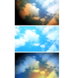 Abstract bright clouds sky banners vector