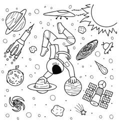 astronaut yoga vector image