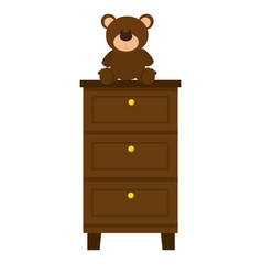 Bear teddy on case icon vector