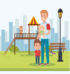 best father in the park scene vector image