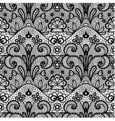 Black lace vintage seamless pattern with flowers vector