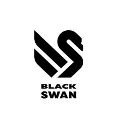 black swan linear logo symbol vector image