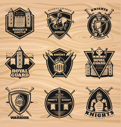 Black vintage knights emblems set vector