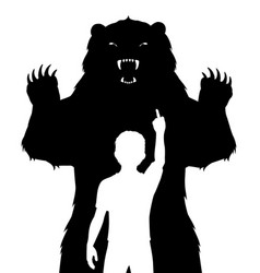 Boy and bear vector