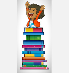 Boy with stack of books vector