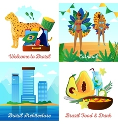 Brazil Travel 4 Flat Icons Square vector image
