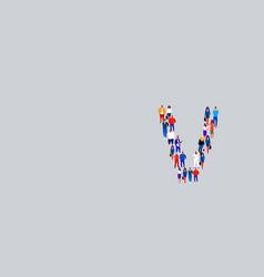 business people crowd forming shape letter v vector image