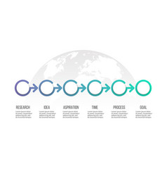 Business process timeline with 6 options vector