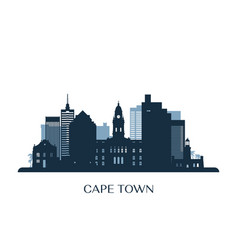 cape town skyline monochrome silhouette vector image