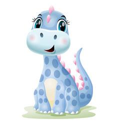 Cartoon cute badinosaur sitting in grass vector