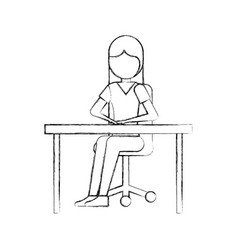 cartoon girl sitting on chair with office desk vector image