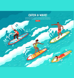 Catch wave surfing concept vector