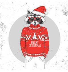 christmas hipster fashion animal raccoon vector image