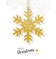 Christmas new year gold glitter snow greeting card vector