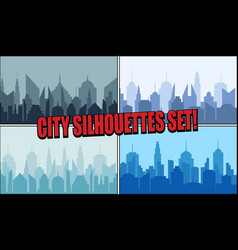 city silhouettes bright collection vector image