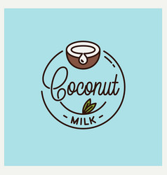 coconut milk logo round linear juice vector image