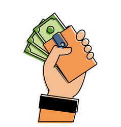 color hand with bill cash money and wallet vector image