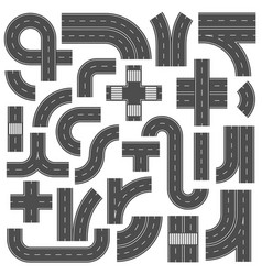 connectable highway road elements crossroads vector image