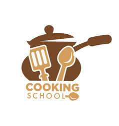 Cooking school promotional emblem with saucepan vector