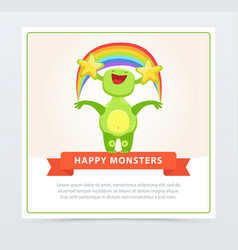 cute funny green monster holding colorful rainbow vector image