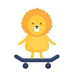 cute lion in skateboard childish character vector image