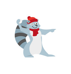 cute raccoon character playing throwing snowball vector image