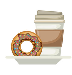 disposable coffee cup and donut chocolate glazed vector image