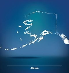 Doodle Map of Alaska vector image