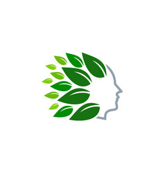 eco human head logo icon design vector image