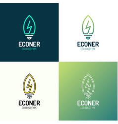 eco leaves bulb power energy logo icon design vector image