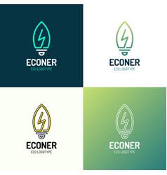 eco leaves bulb power energy logo icon design vector image