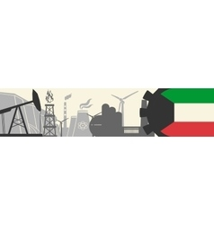Energy and Power icons set Kuwait flag vector