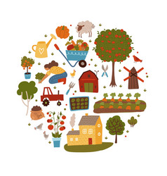 farmer agriculture and farming round shape vector image