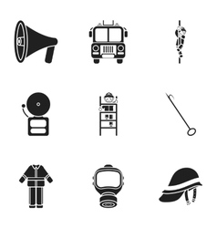 Fire department set icons in black style Big vector image