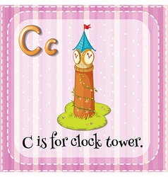 Flashcard C is for clock tower vector image