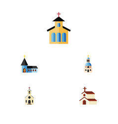 Flat icon christian set of religion building vector