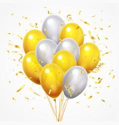 Flying balloons group golden shiny falling vector