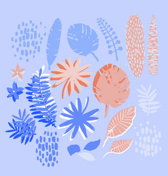 graphic collection exotic plants drawn vector image