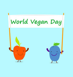 green world vegan day concept background flat vector image