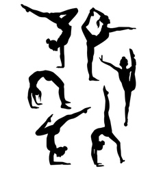 Gymnastics and ballet silhouettes vector