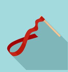 gymnastics ribbon stick icon flat style vector image
