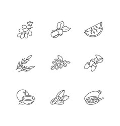 Hair oil ingredients pixel perfect linear icons vector
