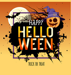 Halloween party poster with jack o lantern vector