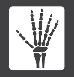 Hand x-ray glyph icon medicine and healthcare vector