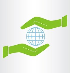 Hands protect the earth icon vector
