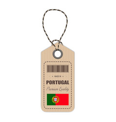 hang tag made in portugal with flag icon isolated vector image