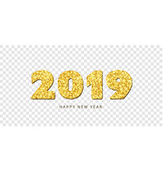 happy new year card gold number 2019 with text vector image