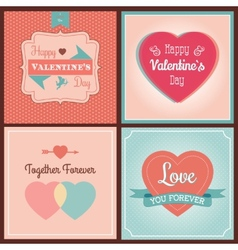 Happy Valentines Day Card Set vector image